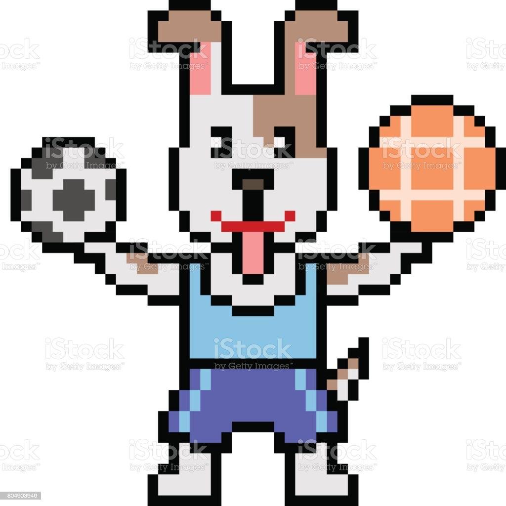 Vector Pixel Art Athlete Dog Stock Illustration Download
