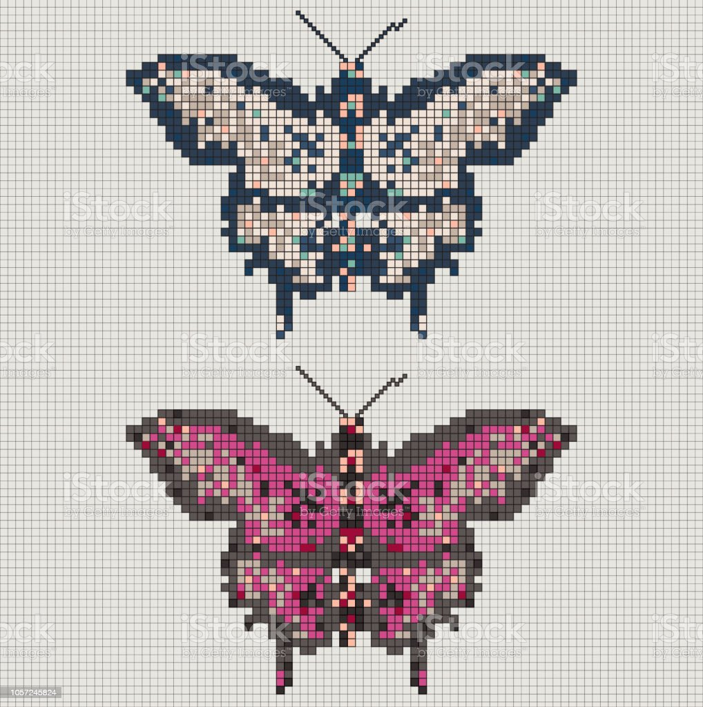 Vector Pixel Art Butterfly Stock Illustration Download