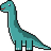 vector pixel art brachiosaurus isolated