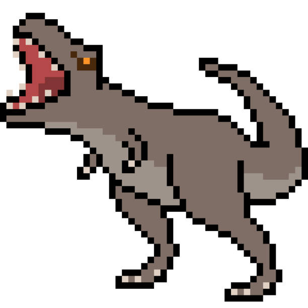 Pixel Art T Rex Cartoon Dinosaur Illustrations Royalty Free