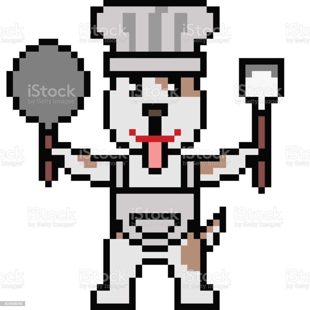Chien De Chef Vecteur Pixel Art Vecteurs Libres De Droits Et