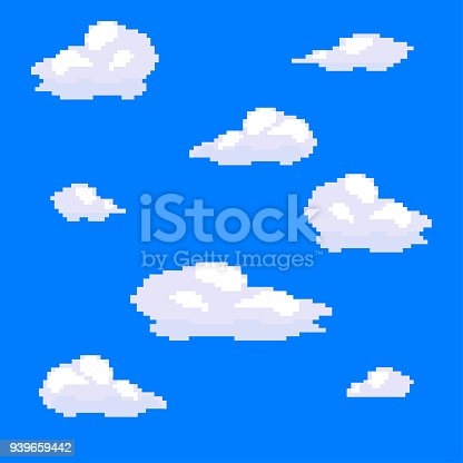 vector pixel art nuage collection d finie ciel bleu cliparts vectoriels et plus d 39 images de. Black Bedroom Furniture Sets. Home Design Ideas