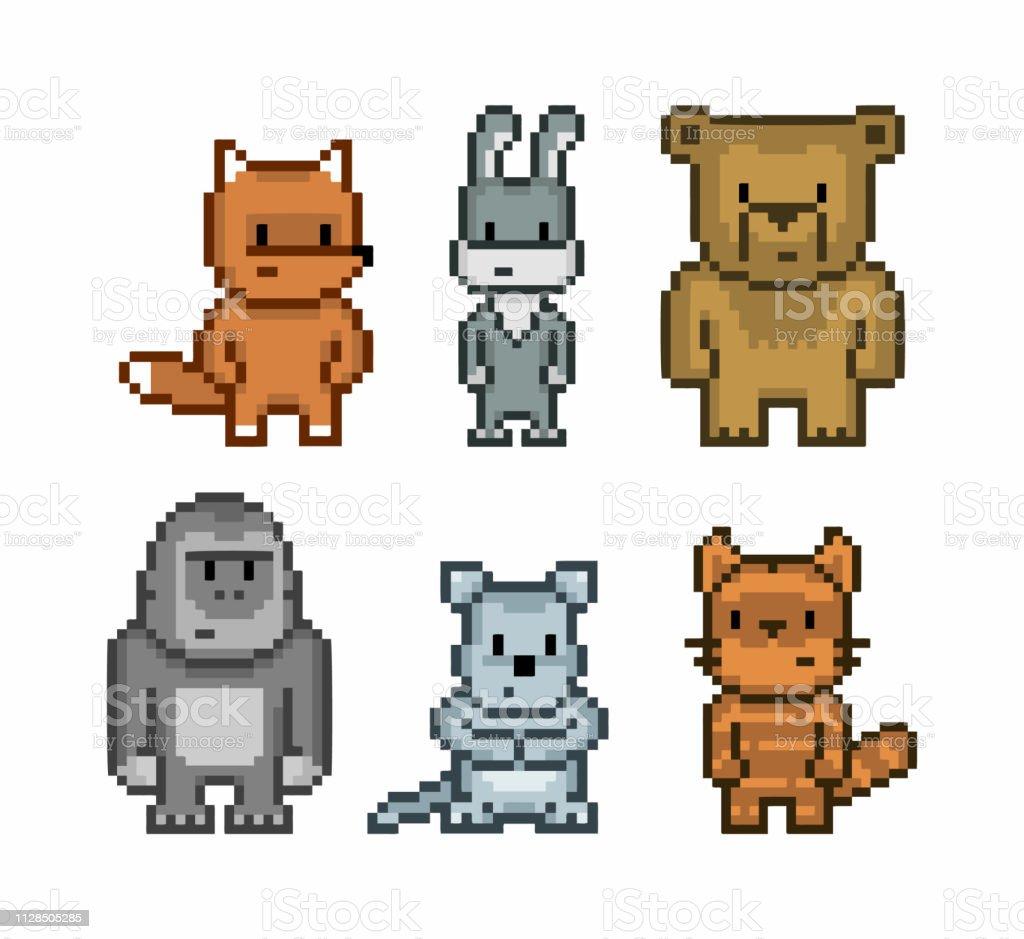 Collection Dart De Pixel Vecteur Des Animaux Mignons De 8bit