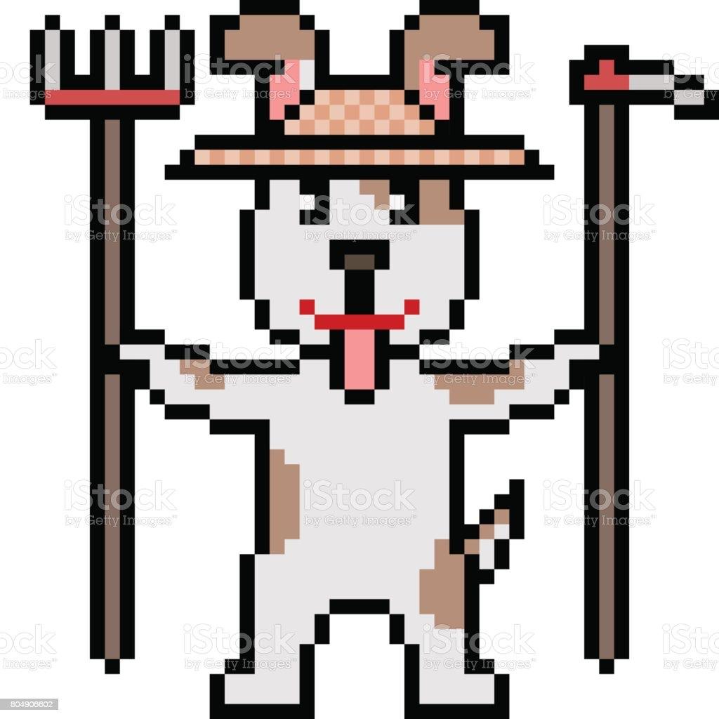 vector pixel art farmer dog vector art illustration