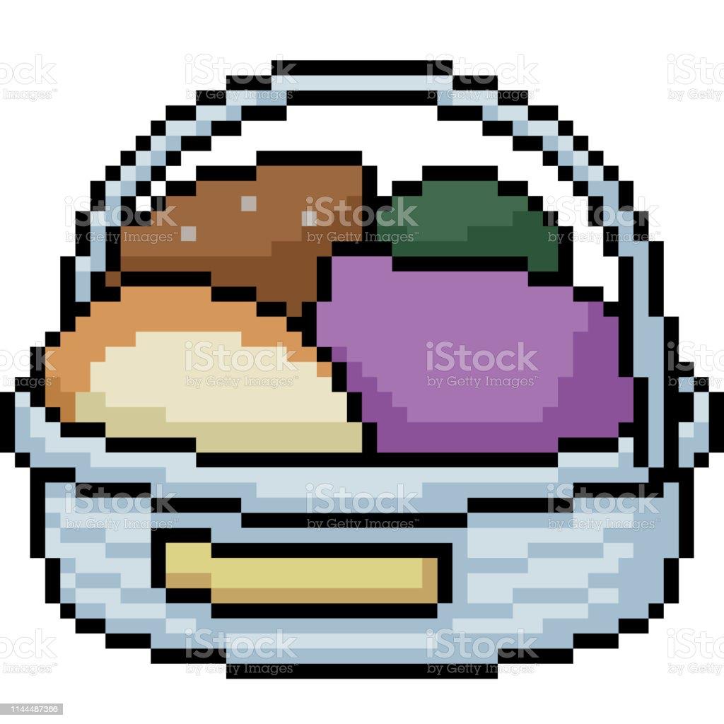 Panier De Nourriture Vecteur Pixel Art Vecteurs Libres De