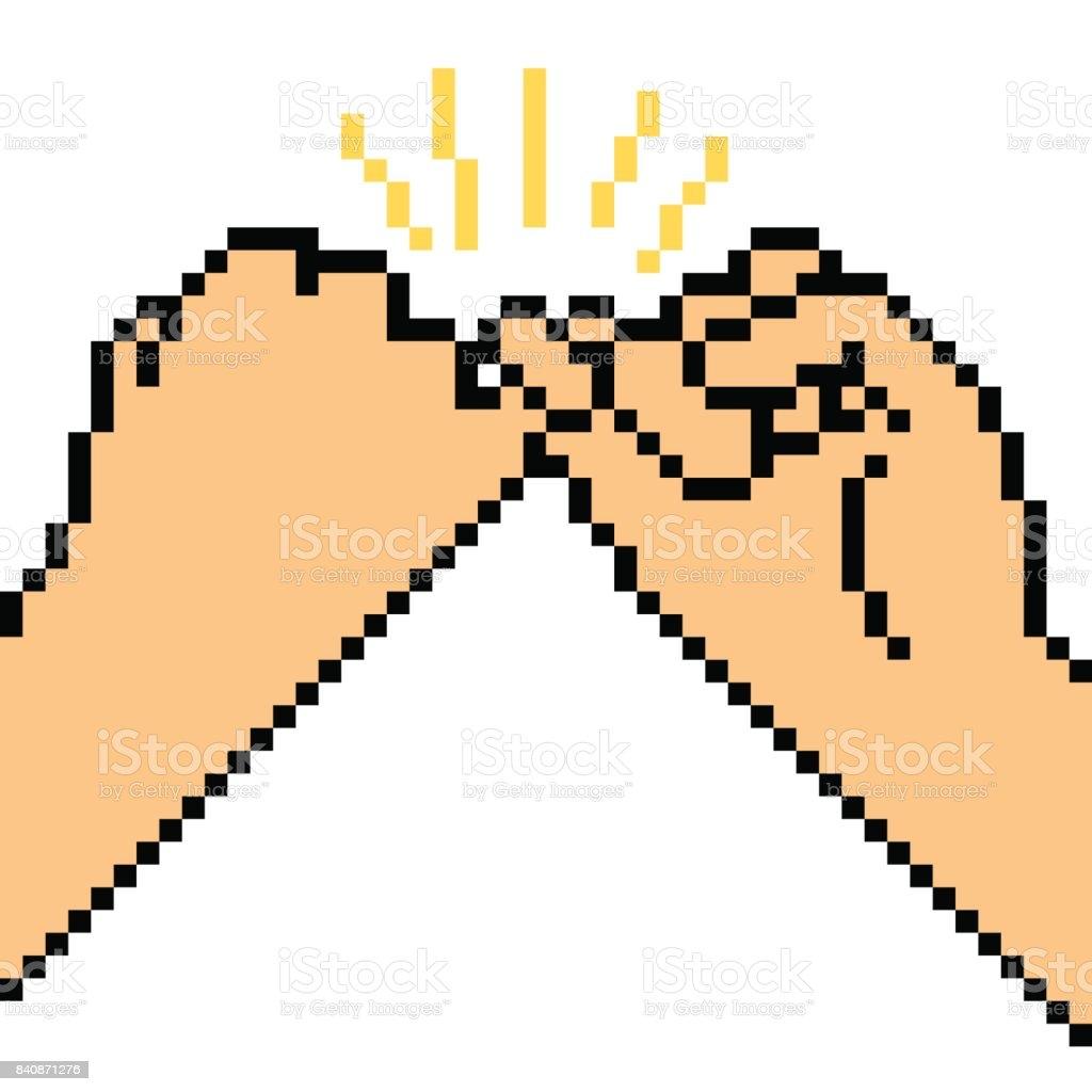 Vector Pixel Art Hand Sign Stock Illustration Download