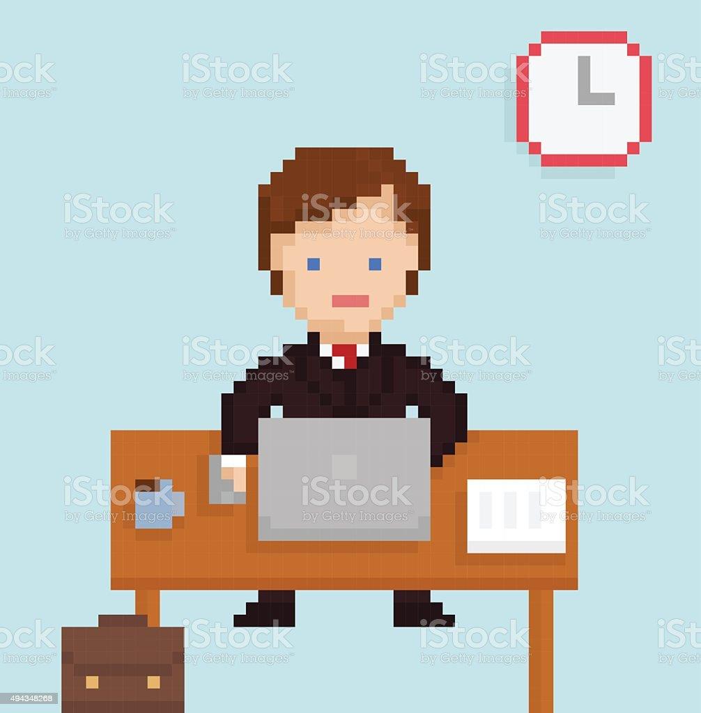 Vector pixel art illistration office businessman sitting at the laptop vector art illustration