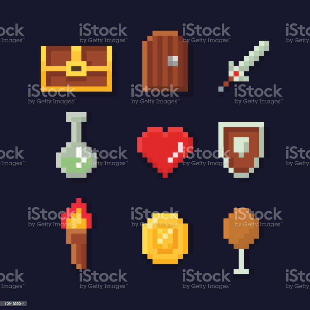 Vector Pixel Art Illustration Isons Pour Le Développement De Jeux Aventure Fantastique Magie épée Nourriture Poitrine Pièce De Monnaie Vecteurs Libres