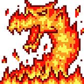 "vector pixel art fire dragon isolated cartoon""n"