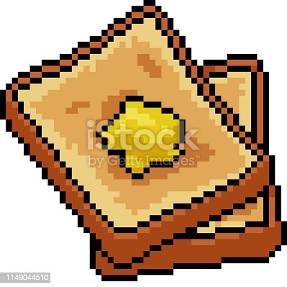 vector pixel art bread isolated cartoon