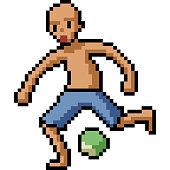 Footballer Pixel Art On White Background Vector Illustration