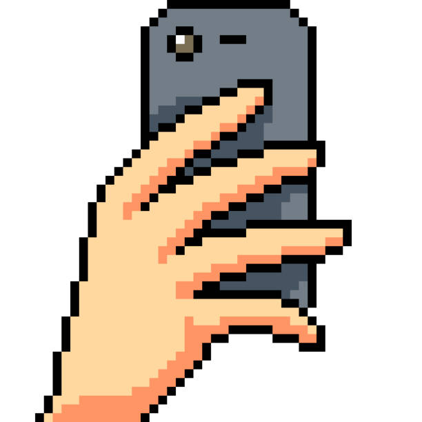 vector pixel art isolated cartoon - hand holding phone stock illustrations