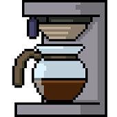 vector pixel art coffee machine isolated cartoon