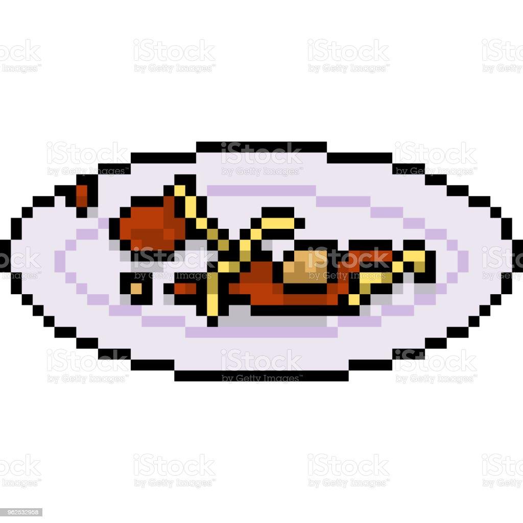 Vector pixel arte isolado dos desenhos animados - Vetor de Almoço royalty-free
