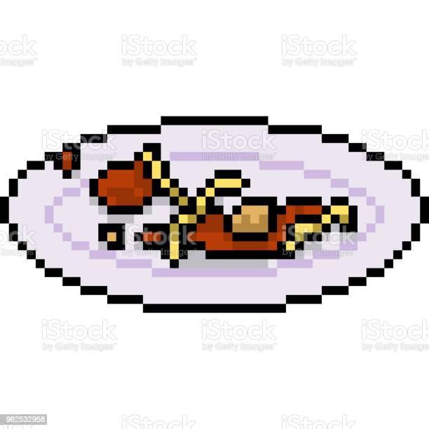Vetores de Vector Pixel Arte Isolado Dos Desenhos Animados e mais imagens de Almoço