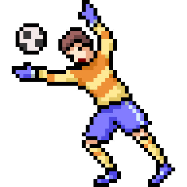 vektor pixel kunst isoliert cartoon - fußballkunst stock-grafiken, -clipart, -cartoons und -symbole