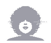 Vector pixel art of a woman with an afro hairstyle