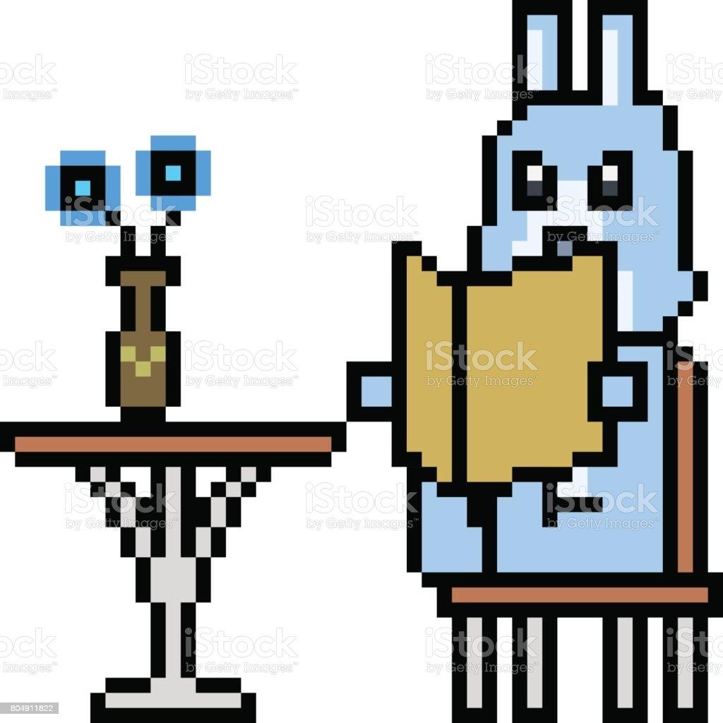 Vector Pixel Art Lapin Lire Livre Vecteurs Libres De Droits