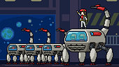 vector pixel art scene space army