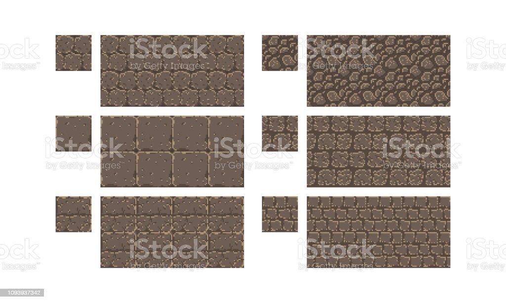 ベクトル ピクセル アート シームレスな古代石のテクスチャです。レンガ壁のパターン。レトロな 8 ビット ゲーム要素。 ベクターアートイラスト