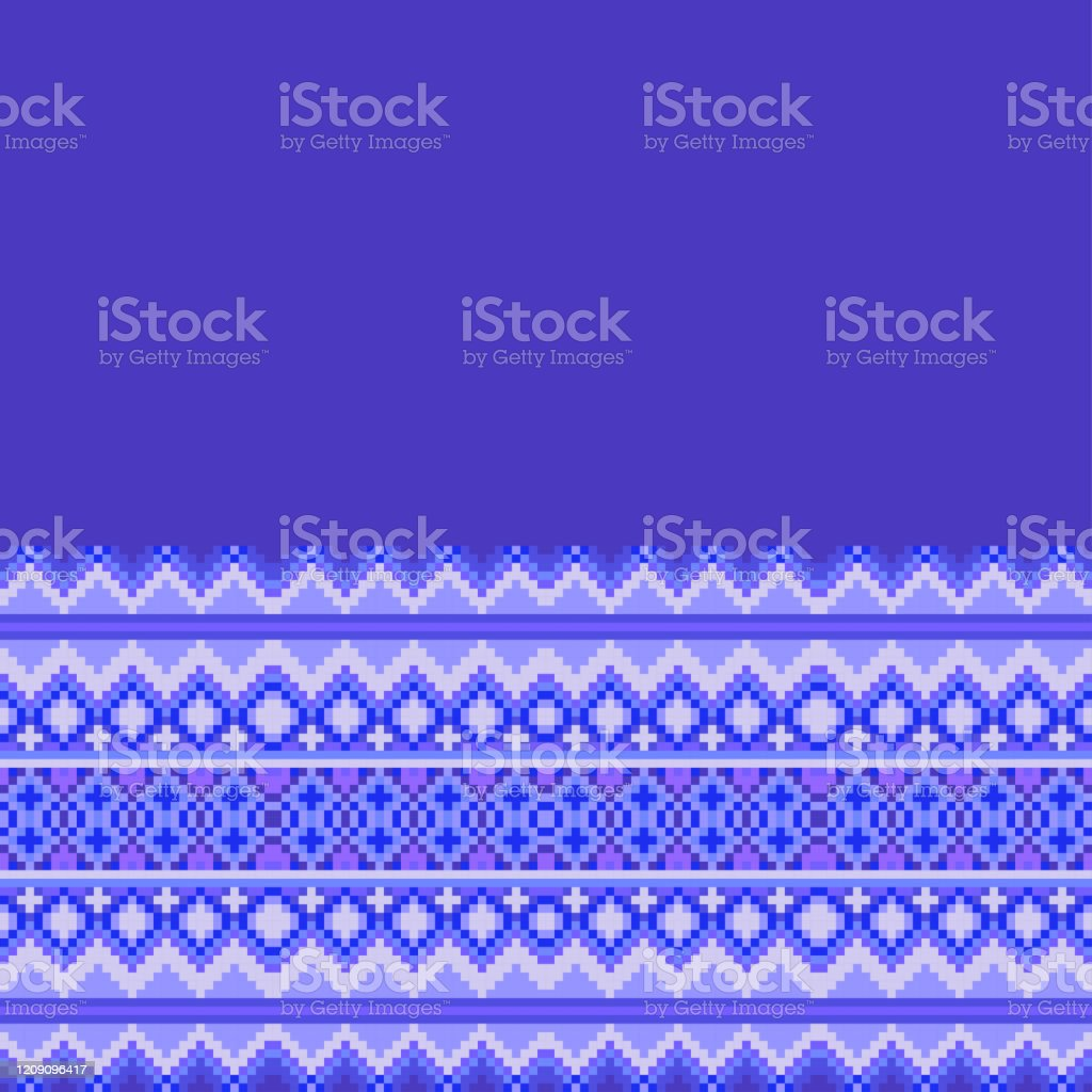 Vector Pixel Art Seamless Border Texture Ethnic Cross Stitch Pattern Cold Winter Coloring For Design Of Linen Fabric Kitchen Textiles Stock Illustration Download Image Now Istock