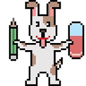 vector pixel art writer dog