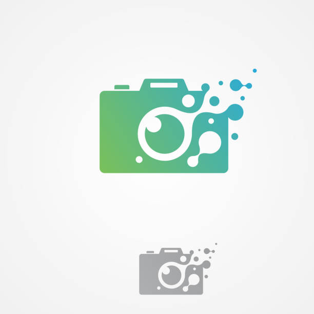 vector pixel camera icon modern symbol for graphic and web design - tematy fotograficzne stock illustrations