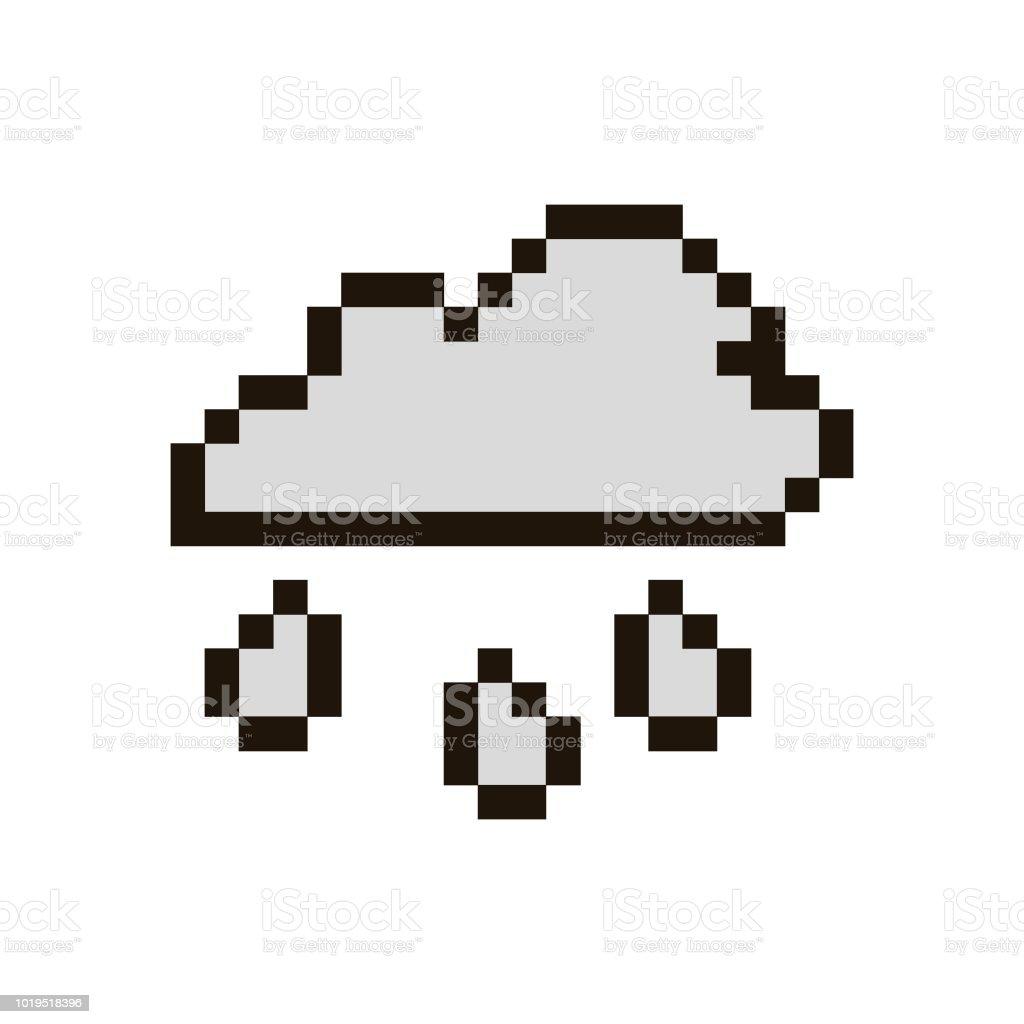Nuage De Pixel Vectoriel Avec Pluie Vecteurs Libres De