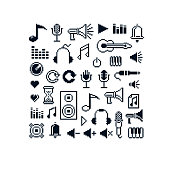 Vector pixel icons isolated, collection of 8bit music graphic elements. Simplistic digital signs created in music and media theme.