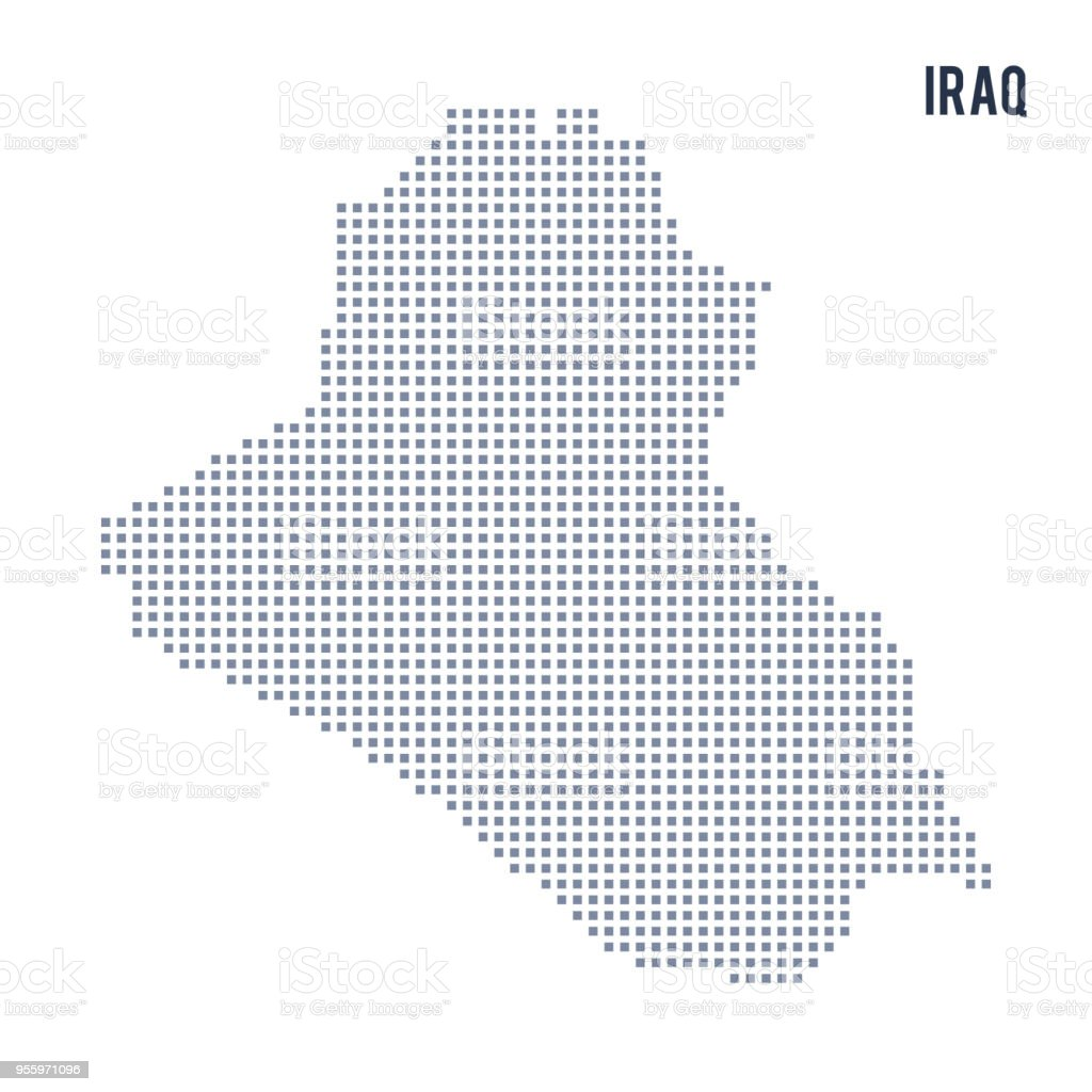 Vector Pixel Map Of Iraq Isolated On White Background Stock Vector