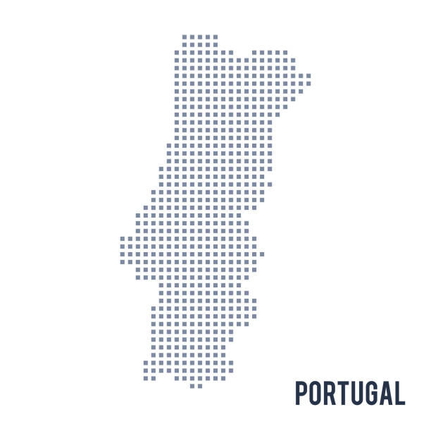 ilustrações de stock, clip art, desenhos animados e ícones de vector pixel map of portugal isolated on white background - mapa portugal