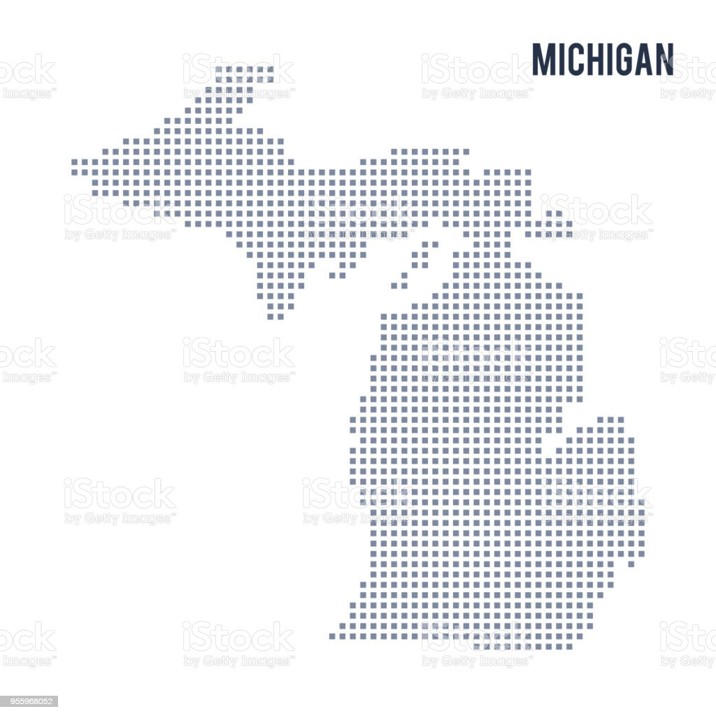 Vector Pixel Map State Of Michigan Isolated On White Background ...