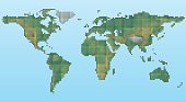 Vector pixel physical map of the world.