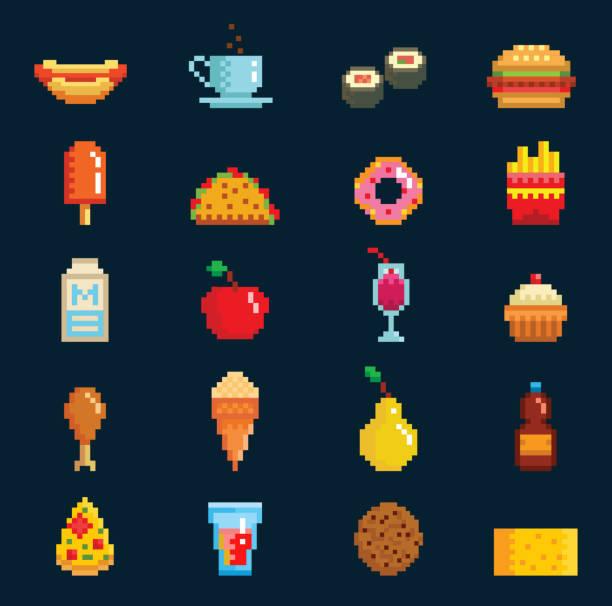 vektor-pixelart-fast-food-icons zu unterzeichnen, computer game-design symbol web grafik fast food küche symbole abbildung schnell restaurant pixelig elemente burger, hotdog, pizza und getränke - hamburger schnellgericht stock-grafiken, -clipart, -cartoons und -symbole