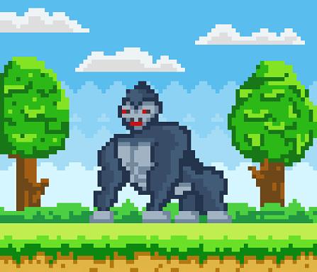 Vector pixelated Gorilla cartoon pixel design wild animal in natural landscape with green trees