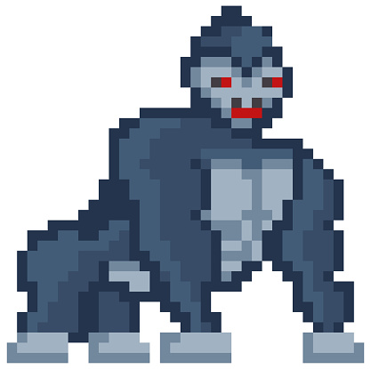 Vector pixelated Gorilla cartoon pixel design wild animal with red eyes isolated on white background