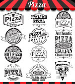 Pizzeria menu vintage design elements and badges set. Collection of vector pizza signs, symbols and icons.
