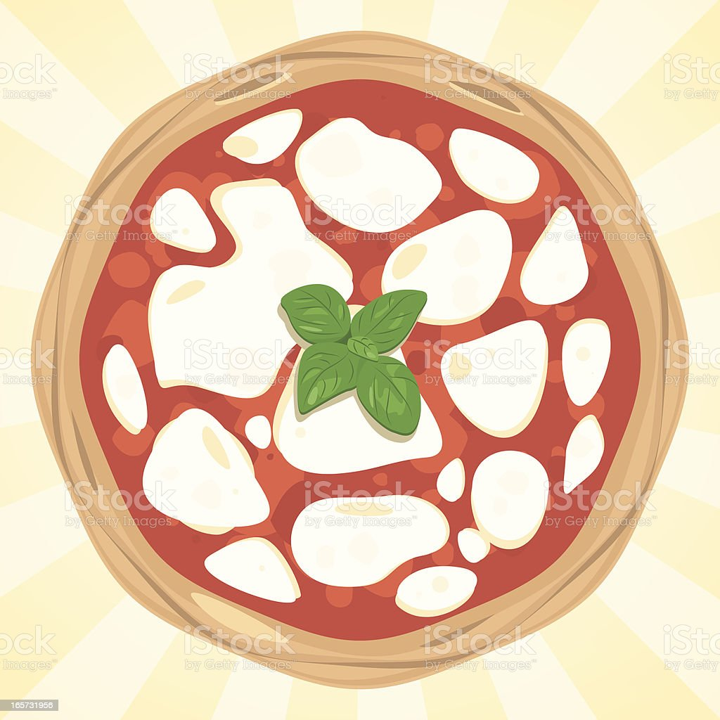 Vector pizza margherita from above vector art illustration