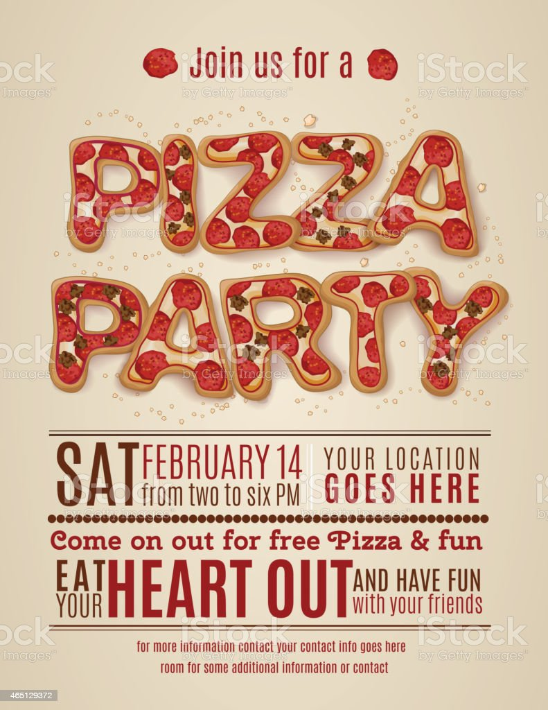 vector pizza party flyer invitation template design vector art illustration