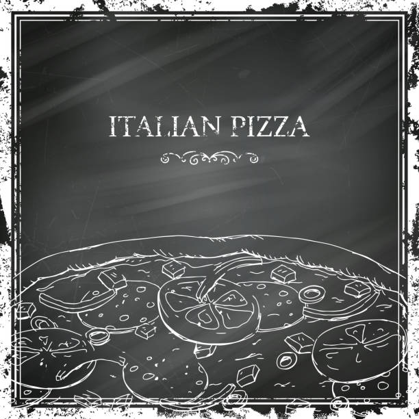 Vector Pizza Poster on a Black Chalkboard vector art illustration