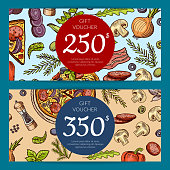 Vector pizza restaurant giftcard or discount templates. Illustration of gift card and coupon for pizza discount lunch