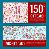 Vector pizza restaurant or shop giftcard or discount templates. Illustration of pizza dinner discount gift card