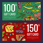 Vector pizza restaurant or shop giftcard or discount templates of set illustration