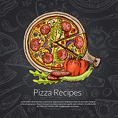 Vector pizza, rozmarine, pepper and pepperoni hand drawn. Pizza italian delicious with salami illustration