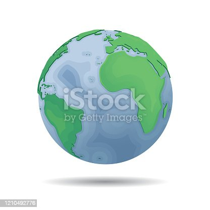 istock Vector planet earth icon with depth of the sea . Web illustration background. Isolated earth globe. World map design. Global sphere planet symbol. 1210492776