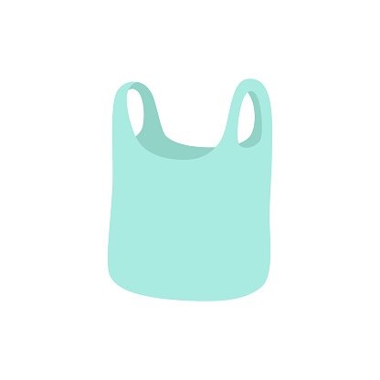 Vector plastic bag insulated on white. Hand-drawn vector illustration in a modern style.