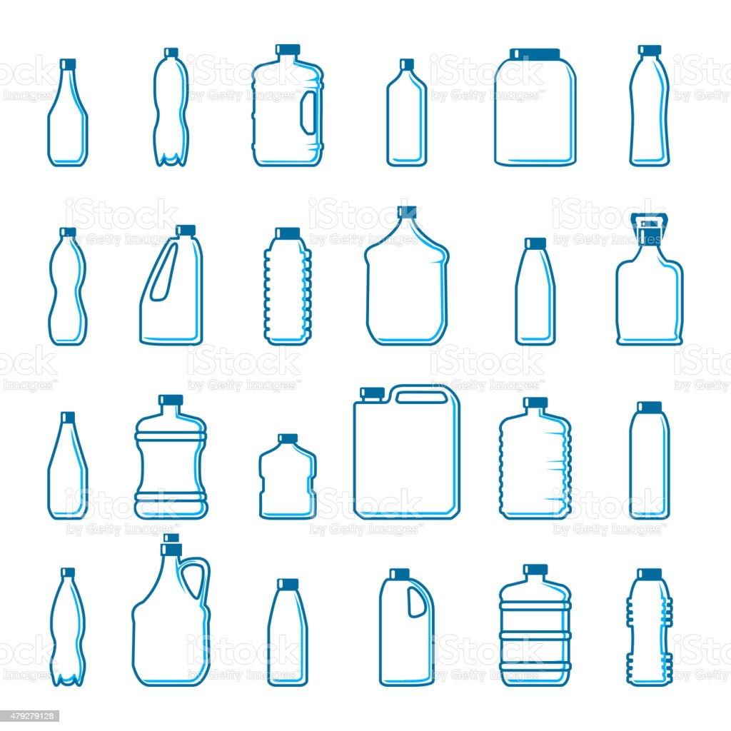 Vector de botellas de plástico en el estilo de contorno - ilustración de arte vectorial