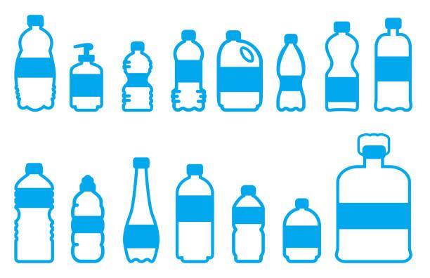 vektor-kunststoffflaschen set 2 - altglas stock-grafiken, -clipart, -cartoons und -symbole