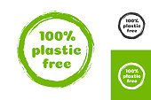 Vector plastic free emblem for organic product sign, farm fresh shop, eco label, control sticker, ecological and natural product market, vegan food store, bio store. 10 eps