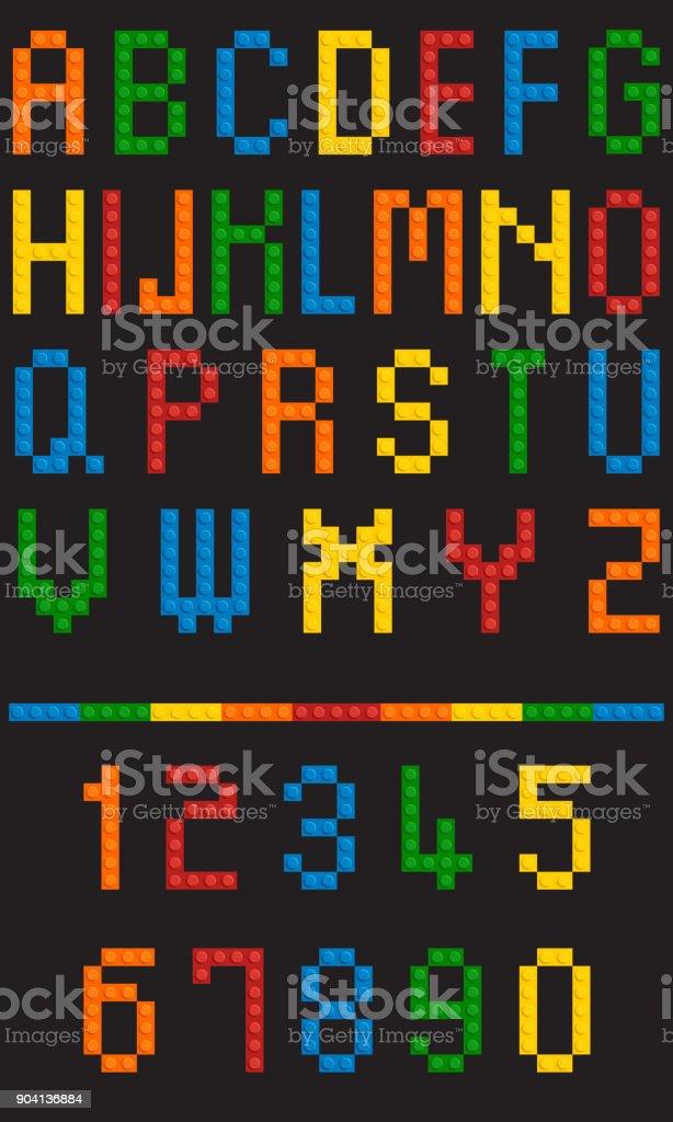 Vector plastic toy alphabet vector art illustration